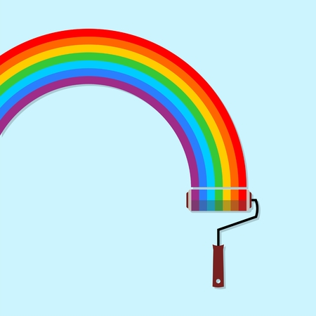 platen: Rainbow cloud and paint roller