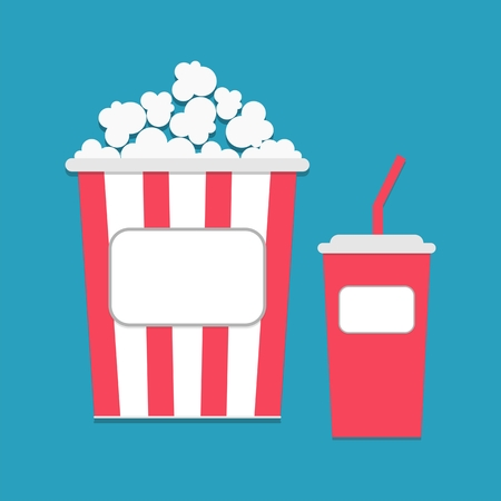 flick: Popcorn and soda with straw empty label tag Illustration