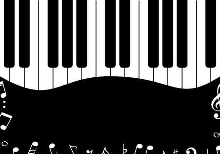 Music design Black piano with notes