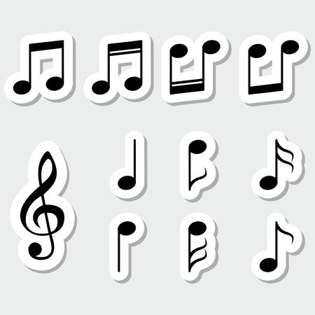 gamma tone: Set of music notes, black sticker design