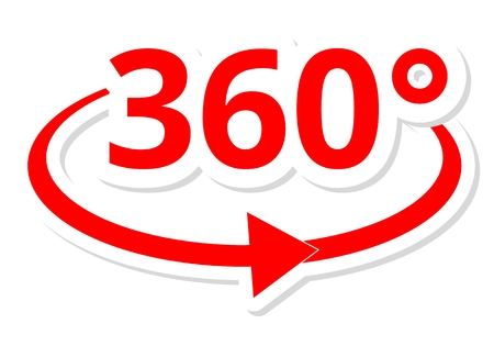360 degres icon red Illustration