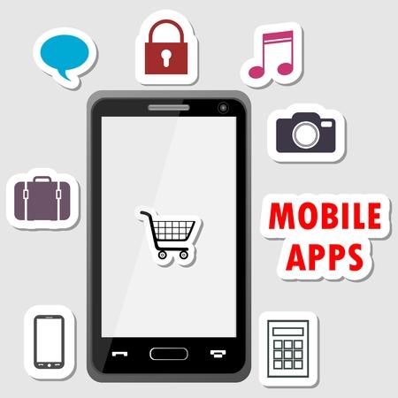 mobile apps: Mobile apps design shop Illustration