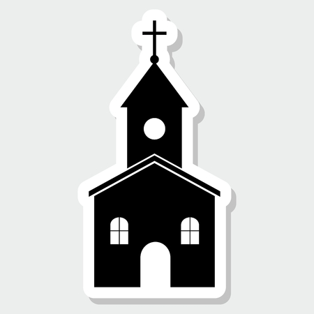 realism: Church with a cross sticker - illustration