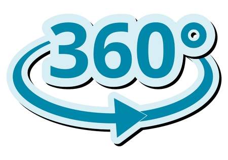 360 degres icon white background