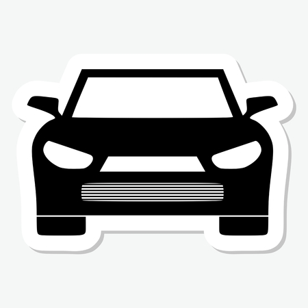 motorist: Monochrome sicker car icon