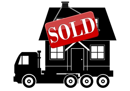 land owner: Move Service, Truck, House and sign Sold Illustration