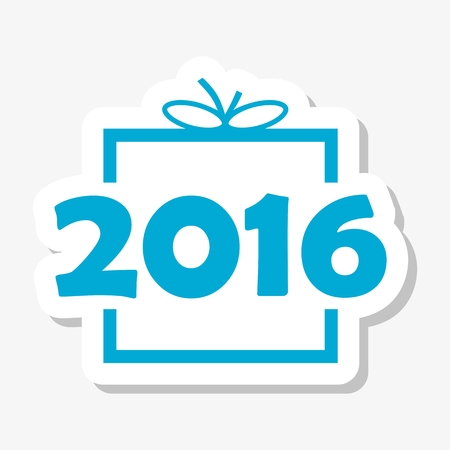 blue gift box: Blue gift box with 2016