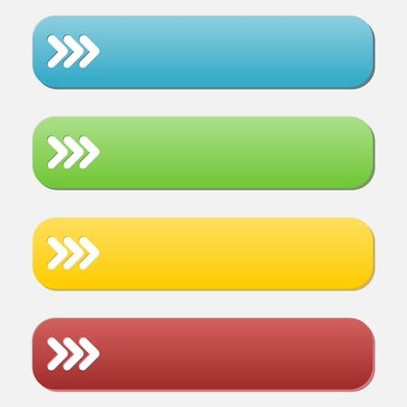 satined: Set of web buttons with arrow in color