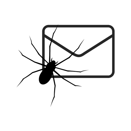 malicious: White E mail virus attack, internet trojan detected Illustration