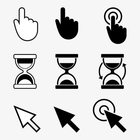 cursors: Cursors icons, hand, hourglass, arrow