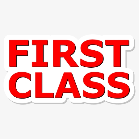 first in class: First Class Red Sign Illustration