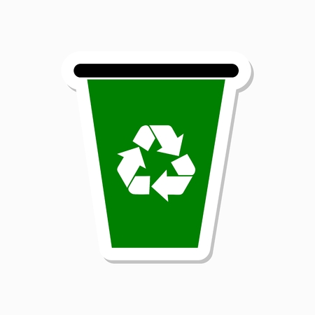 Recycle bin with recycle sign sticker