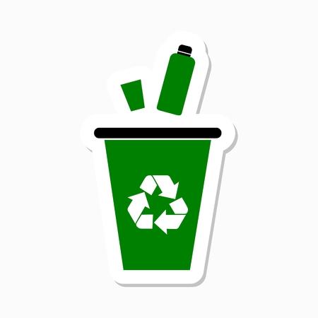 segregate: Green garbage, trash bin sticker