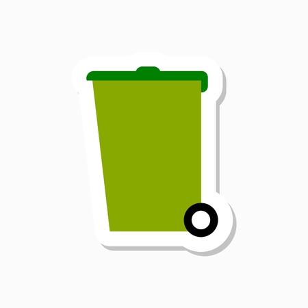 papelera de reciclaje: Reciclar bin pegatina del vector