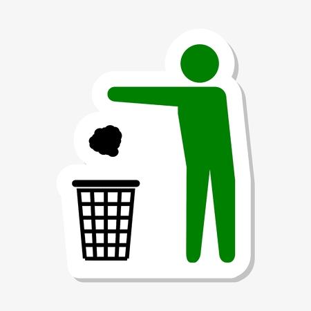 waste basket: Garbage Recycling Sticker Symbol