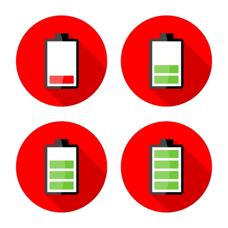 stored: Battery charging icons - Electricity signs symbols