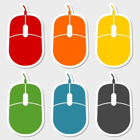 e new: Computer mouse sign sticker set