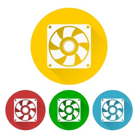 exhaust fan: Exhaust fan icon set Illustration