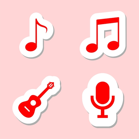 disk jockey: Music icons, Note, Microphone, Guitar Illustration