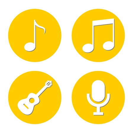 disc jockey: Music icons, Note, Microphone, Guitar Illustration
