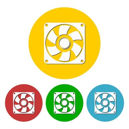 aeration: Exhaust fan icon set Illustration