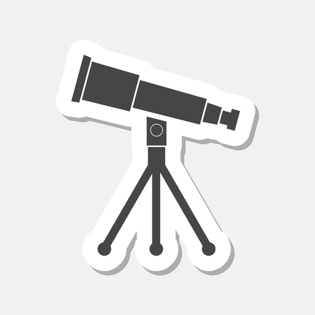 parabolic mirror: Telescope icon sticker Illustration
