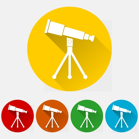 parabolic mirror: Telescope icon set Illustration