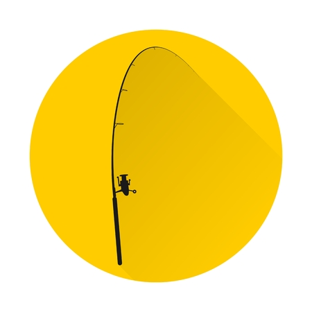 outdoor goods: Fishing rod icon with long shadow