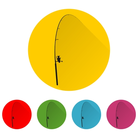 outdoor goods: Fishing rod icon with long shadow set