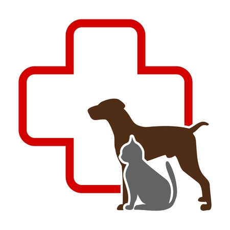 red animal: Veterinary icon with medicine symbol Illustration