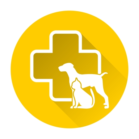 cat call: Veterinary icon with medicine symbol with long shadow
