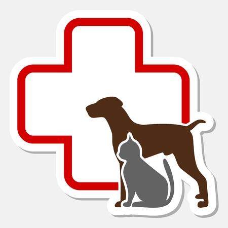 Veterinaire pictogram met geneeskunde symbool Vector Illustratie