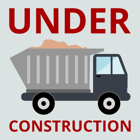 to unload: Truck with sand under construction Illustration