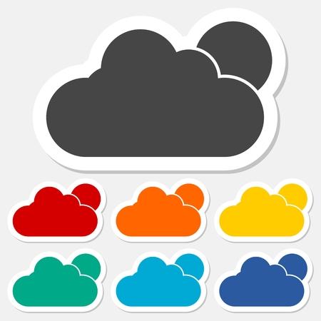 windy day: Weather sticker set Illustration