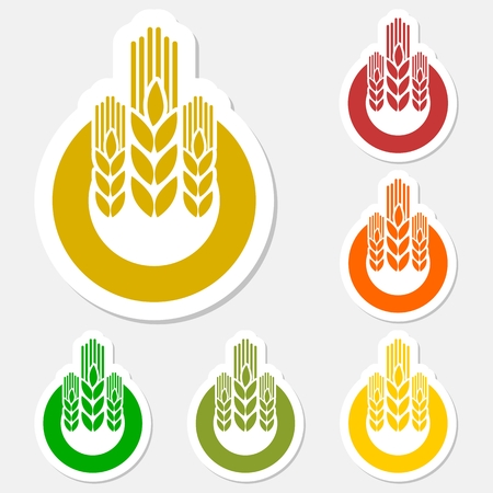 agro: Wheat sticker logo set