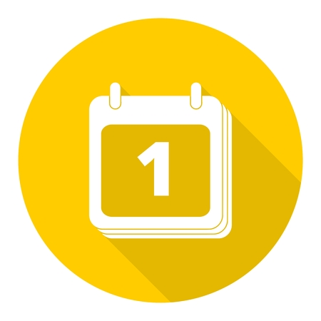 reminder icon: Calendar, Date or event reminder icon sign with long shadow