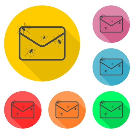 spam: Spam letter with spiders set Illustration