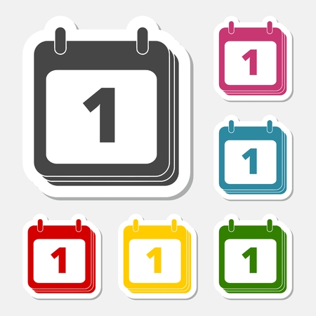reminder icon: Calendar, Date or event reminder icon sign sticker set