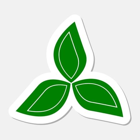 three leaves: Agriculture design three leaves sticker Illustration