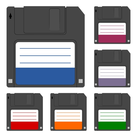 salvaging: Magnetic floppy disc icon set
