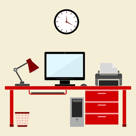 work from home: Flat style design vector illustration work place home interior
