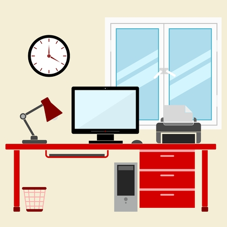 work place: Flat style design vector illustration work place home interior