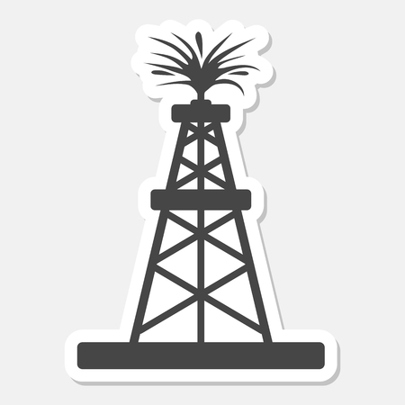 Oil rig, Oil Gusher sticker icon Stock Illustratie