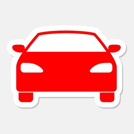 transportation facilities: Car icon sticker Illustration