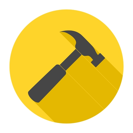 tooling: Hammer icon with long shadow