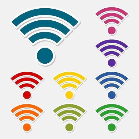 Wifi icon - abstract logo type icon set sticker Illusztráció