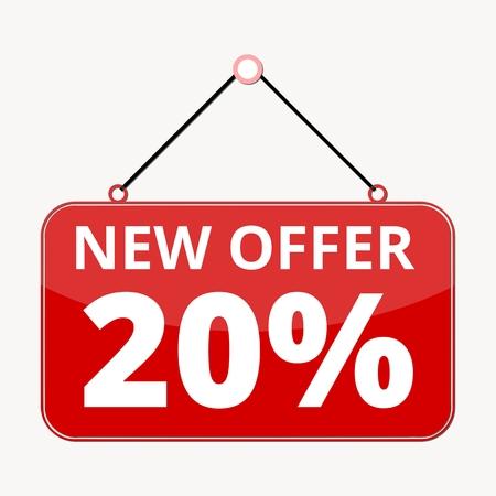 best ad: Commerce concept, New offer 20, red sign Illustration