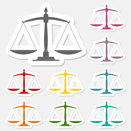 scale of justice: Justice scale stickers set