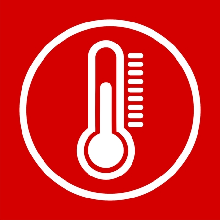 volumetric flask: Thermometer icon red background Illustration