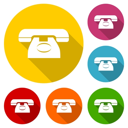 peeling corner: Telephone icon, vector illustration with long shadow set